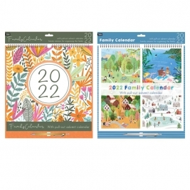 2021 Family Organiser Calendar in 2 Assorted Designs - Brights Floral/Scenes