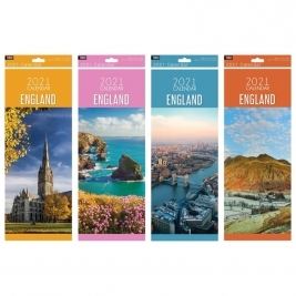 2021 Super Slim Month to View England Photo Wall Calendar