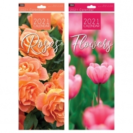 2021 Super Slim Month to View Flowers/Roses Photo Wall Calendar