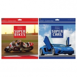 2021 Square Month to View Super Cars/Super Bikes Photo Wall Calendar