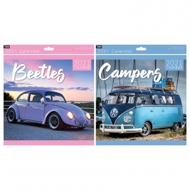 2021 Month to View Super Beetles/Camper-Vans Square Photo Wall Calendar