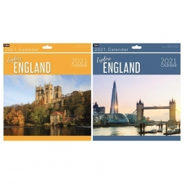 2021 Month to View Explore England Square Photo Wall Calendar