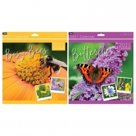 2021 Month to View Super Bees/Butterflies Square Photo Wall Calendar