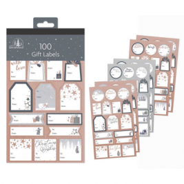 100 Contemporary Foil Gift Labels - Grey