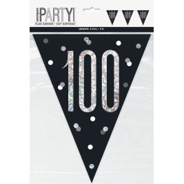 100th BIRTHDAY GLITZ BLACK PRISMATIC PLASTIC PENNANT BANNER
