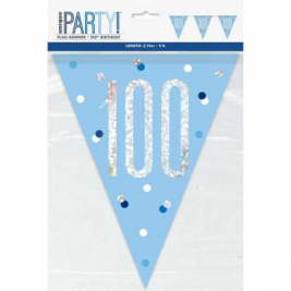 100th BIRTHDAY GLITZ BLUE PRISMATIC PLASTIC PENNANT BANNER