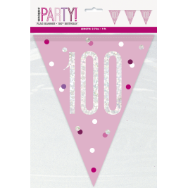100th Birthday Glitz Pink Prismatic Plastic Pennant Banner