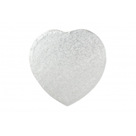 Silver Heart Shrink Wrapped Cake Drums 14 Inch - 5Pk