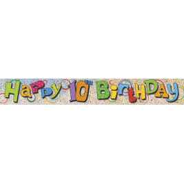 10th Birthday Prism Foil Banner 12ft