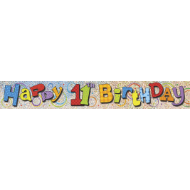 11th Birthday Prism Foil Banner 12ft