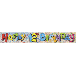 12th Birthday Prism Foil Banner 12ft