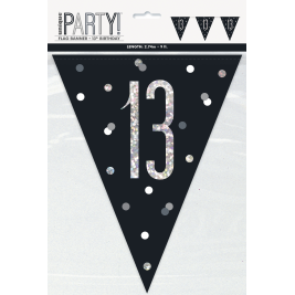 13th BIRTHDAY GLITZ BLACK PRISMATIC PLASTIC PENNANT BANNER
