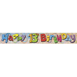 13th Birthday Prism Foil Banner 12ft