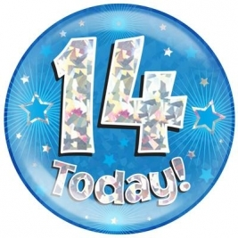 14 Today - Blue Holographic Jumbo Badge