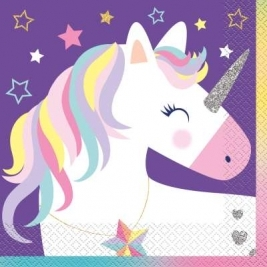 16 x Stars & Unicorn Party Paper Napkins