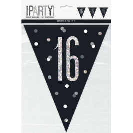 16th BIRTHDAY GLITZ BLACK PRISMATIC PLASTIC PENNANT BANNER