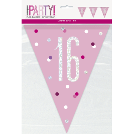 16th Birthday Glitz Pink Prismatic Plastic Pennant Banner