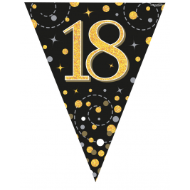 18 Black & Gold Sparkling Fizz Holographic Party Bunting 11 flags 3.9m