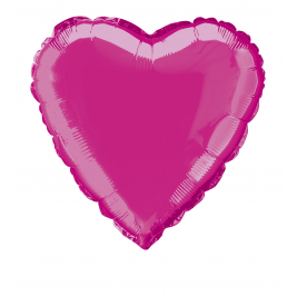 SOLID HOT PINK  COLOUR HEART SHAPED FOIL BALLOONS