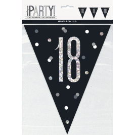 18th BIRTHDAY GLITZ BLACK PRISMATIC PLASTIC PENNANT BANNER