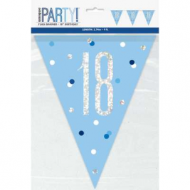 18th BIRTHDAY GLITZ BLUE PRISMATIC PLASTIC PENNANT BANNER