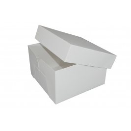White Stapleless Shrink Wrapped Cake Boxes  8 Inch- 5Pk