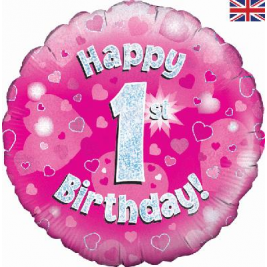 1st Birthday Pink Holographic Foil Balloon