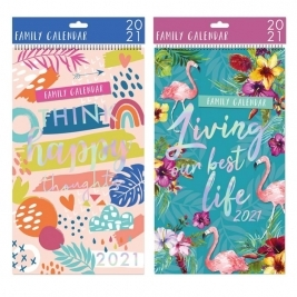 2021 Family Organiser Calendar in 2 Assorted Designs - Quotes