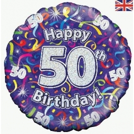 Happy 50th Birthday Streamers Holographic Foil Balloon 18