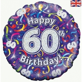 Happy 60th Birthday Streamers Holographic Foil Balloon 18