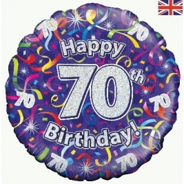Happy 70th Birthday Streamers Holographic Foil Balloon 18