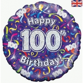Happy 100th Birthday Streamers Holographic Foil Balloon 18