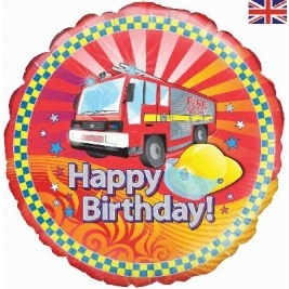 Fire Engine Happy Birthday Foil Balloon - 18