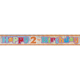 2nd Birthday Prism Foil Banner 12ft