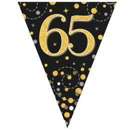 3.9m Party Bunting Sparkling Fizz 65 Black & Gold Holographic 11 flags