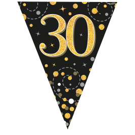 30th Birthday Black & Gold Sparkling Fizz Holographic Party Bunting11 flags 3.9m