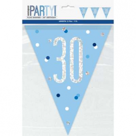 30th BIRTHDAY GLITZ BLUE PRISMATIC PLASTIC PENNANT BANNER