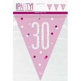 30th Birthday Glitz Pink Prismatic Plastic Pennant Banner