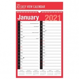 2021 A3 Extra Wide 2 Column Month To View Spiral Bound Wall Planner Calendar.