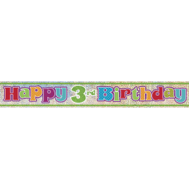 3rd Birthday Prism Foil Banner 12ft