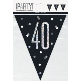 40th BIRTHDAY GLITZ BLACK PRISMATIC PLASTIC PENNANT BANNER