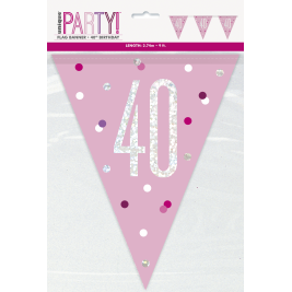 40th Birthday Glitz Pink Prismatic Plastic Pennant Banner