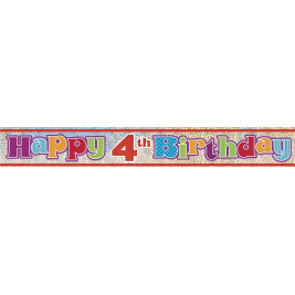 4th Birthday Prism Foil Banner 12ft
