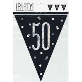50th BIRTHDAY GLITZ BLACK PRISMATIC PLASTIC PENNANT BANNER