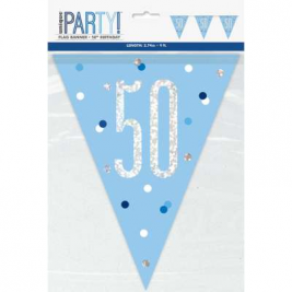 50th BIRTHDAY GLITZ BLUE PRISMATIC PLASTIC PENNANT BANNER