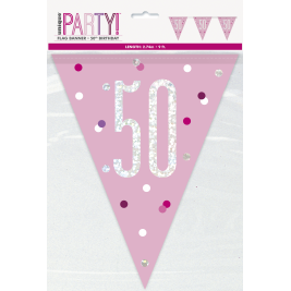50th Birthday Glitz Pink Prismatic Plastic Pennant Banner