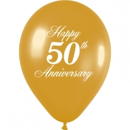50th Anniversary Metallic Gold 1 side printed Latex Balloons 11 Inch - 50 Pack