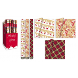 5m Contemporary Christmas Traditional Gift Wrap Rolls 3 Designs