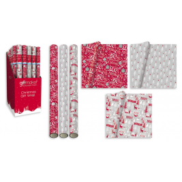 5m Cosy Christmas Gift Wrapping Paper Roll 3 Assorted Designs