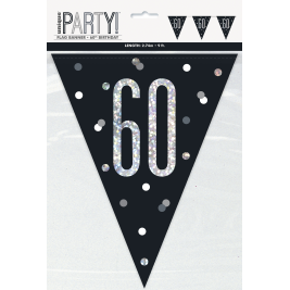 60th BIRTHDAY GLITZ BLACK PRISMATIC PLASTIC PENNANT BANNER